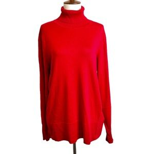 Cable&Gauge Red Turtleneck Sweater L
